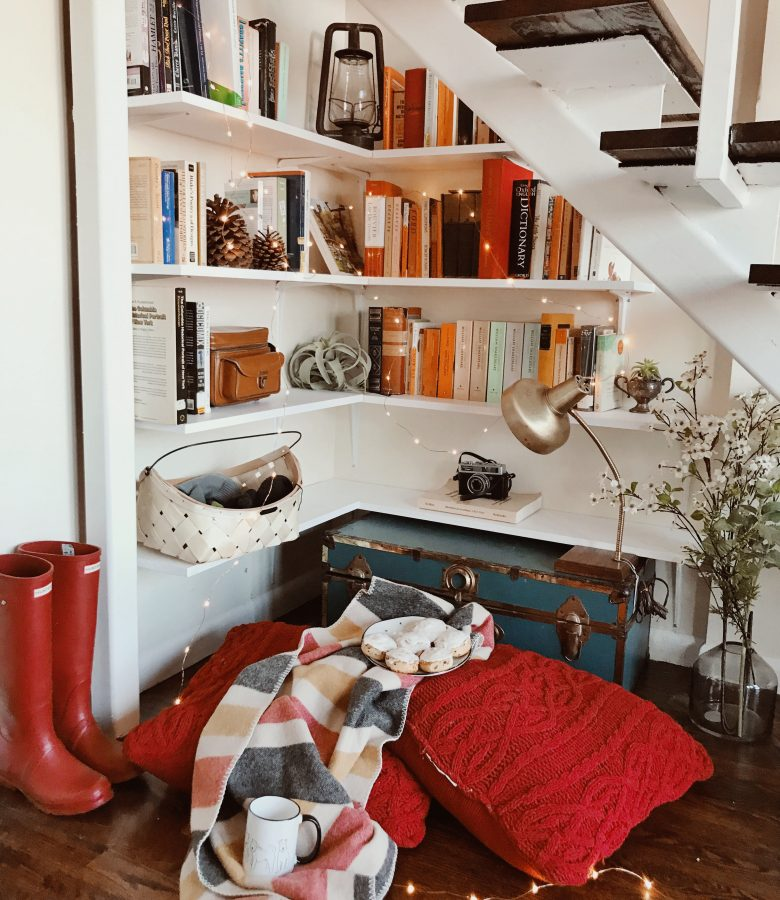 the bookcase under our stairs